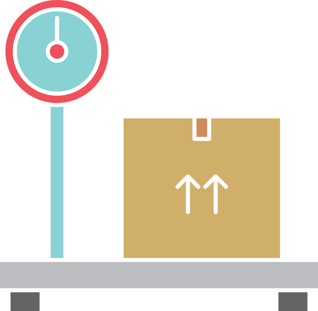 icon of box being weighed before being shipped