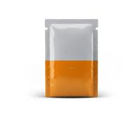 image of orange sachet packet packaging option on white background