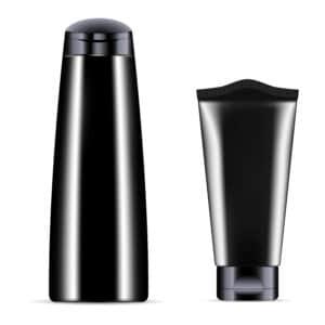 black plastic bottle and flexible tube packaging options